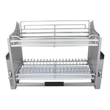 Load image into Gallery viewer, Great pull down 2 tier chrome steel wire dish drainer rack utensils basket shelf plate holder for 800mm width cabinet kitchen