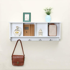 Budget love furniture floating shelf coat rack wall mounted cabinets hanging entryway shelf w 4 hooks storage cubbies organizer white