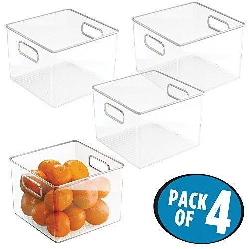 Save mdesign kitchen pantry and cabinet storage and organization bin pack of 4 8 x 8 x 6 clear