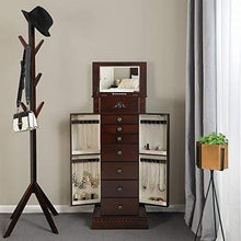 Load image into Gallery viewer, Save on songmics large jewelry armoire cabinet standing storage chest neckalce organizer dark walnut ujjc14k