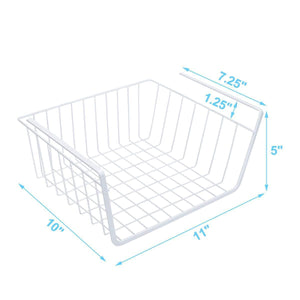 Discover homeideas 4 pack under shelf basket white wire rack slides under shelves storage basket for kitchen pantry cabinet
