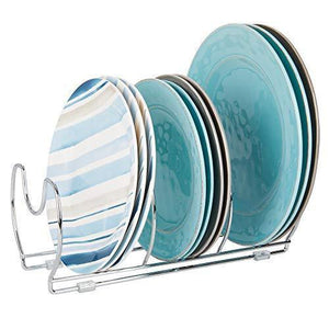 Home mallize metal wire pot pan organizer rack for kitchen cabinet pantry shelves 6 slots for vertical or horizontal storage of skillets frying or sauce pans lids baking stones