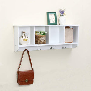 Try love furniture floating shelf coat rack wall mounted cabinets hanging entryway shelf w 4 hooks storage cubbies organizer white