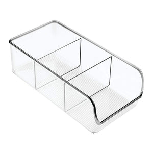 Buy mdesign divided plastic home office desk drawer organizer storage bin for cabinets closets drawers desktops tables workspaces holds pens pencils erasers markers 3 sections 4 pack clear