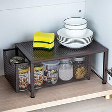 Load image into Gallery viewer, On amazon bextsware stackable multi function under sink cabinet sliding basket organizer drawer extra large capacity space saving bronze