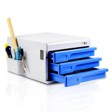 Load image into Gallery viewer, Buy locking drawer cabinet desk organizer home office desktop file storage box w 3 lock drawers great for filing organizing paper documents tools kids craft supplies serenelife slfcab10