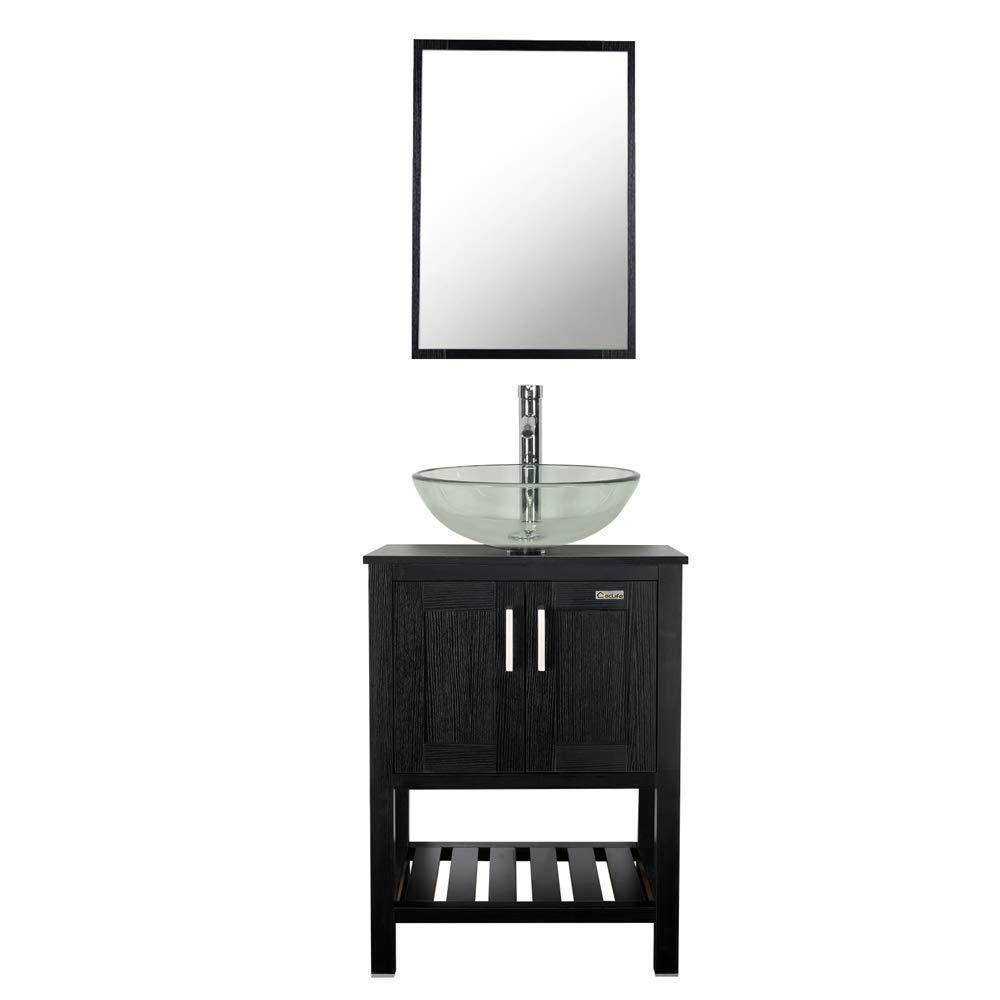 Try 24 bathroom vanity and sink combo stand cabinet mdf board cabinet tempered glass vessel sink round clear sink bowl 1 5 gpm water save chrome faucet solid brass pop up drain w mirror a16b06