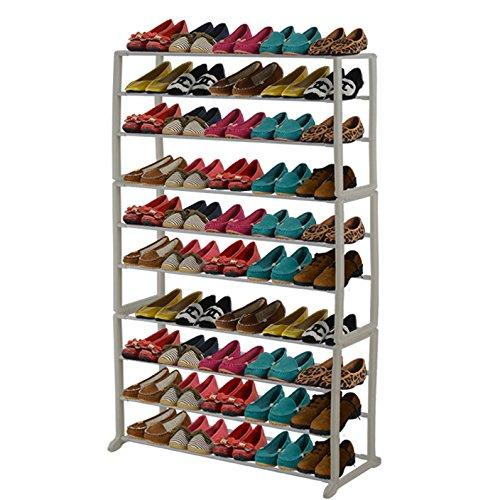10-Tier Shoe Rack Space Saving Shoe Shelf Cabinet, 50 Pairs Portable Shoe Tower Storage Organizer White
