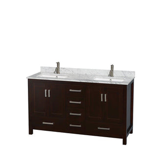 On amazon wyndham collection sheffield 60 inch double bathroom vanity in espresso white carrera marble countertop undermount square sinks and medicine cabinets