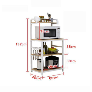 Order now shelf microwave oven storage rack kitchen tableware shelves counter and cabinet 4 layer white color white size 132cm