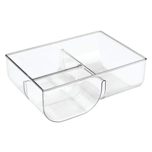 Try mdesign food storage container lid holder 3 compartment plastic organizer bin for organization in kitchen cabinets cupboards pantry shelves 2 pack clear