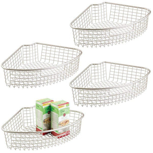 Try mdesign farmhouse metal kitchen cabinet lazy susan storage organizer basket with front handle large pie shaped 1 4 wedge 4 4 deep container 4 pack satin
