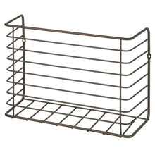 Load image into Gallery viewer, Select nice mdesign farmhouse metal wire wall cabinet door mount kitchen storage organizer basket rack mount to walls and cabinet doors in kitchen pantry and under sink 2 pack bronze