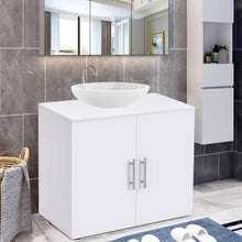 Load image into Gallery viewer, Heavy duty bathroom non pedestal under sink vanity cabinet multipurpose freestanding space saver storage organizer double doors with shelves white