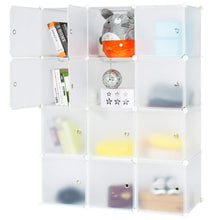 Load image into Gallery viewer, Discover the honey home modular storage cube closet organizers portable plastic diy wardrobes cabinet shelving with easy closed doors for bedroom office kitchen garage 12 cubes white