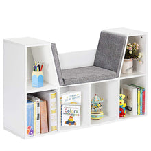 Load image into Gallery viewer, Best seller  costzon 6 cubby kids bookcase w cushioned reading nook multi purpose storage organizer cabinet shelf for children girls boys bedroom decor room white