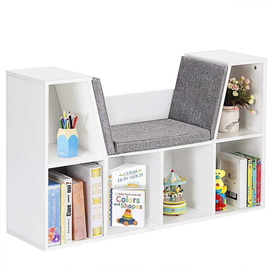 Best seller  costzon 6 cubby kids bookcase w cushioned reading nook multi purpose storage organizer cabinet shelf for children girls boys bedroom decor room white