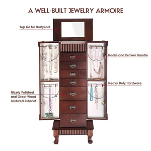 Related giantex standing jewelry armoire cabinet storage chest with 7 drawers 2 swing doors 12 necklace hooks makeup mirror and top divided storage organizer large standing jewelry armoire