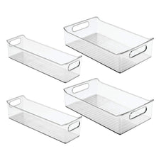Load image into Gallery viewer, Save on mdesign plastic kitchen pantry cabinet refrigerator or freezer food storage bins with handles organizers for fruit yogurt drinks snacks pasta condiments set of 4 clear