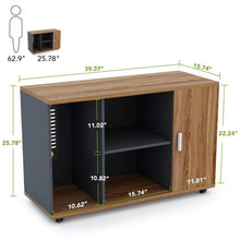Load image into Gallery viewer, Shop here file cabinet little tree 39 large storage printer stand mobile filing office cabinet with wheels door and open shelves for home office dark walnut