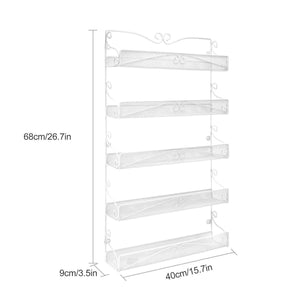 Results spice rack hanging wall mounted spice rack organizer shelf for pantry kitchen cabinet door 5 tier white