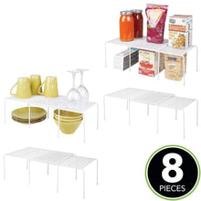 Load image into Gallery viewer, New mdesign adjustable metal kitchen cabinet pantry countertop organizer storage shelves expandable 8 piece set durable steel non skid feet white