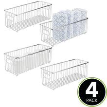 Load image into Gallery viewer, Great mdesign deep metal bathroom storage organizer basket bin farmhouse wire grid design for cabinets shelves closets vanity countertops bedrooms under sinks 4 pack chrome