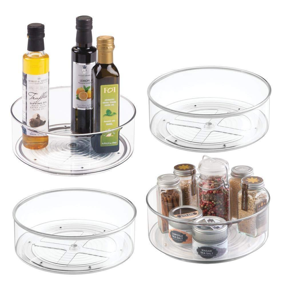 Top rated mdesign plastic lazy susan spinning food storage turntable for cabinet pantry refrigerator countertop spinning organizer for spices condiments baking supplies 9 round 4 pack clear