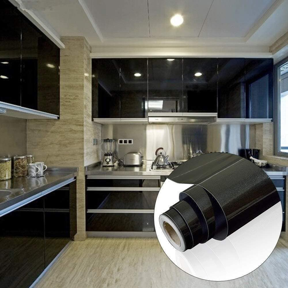 Heavy duty yenhome 24 x 393 glossy black self adhesive vinyl contact paper for cabinets covering kitchen drawer and shelf liner for wardrobe furniture wall decor peel and stick wallpaper stickers