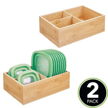 Load image into Gallery viewer, Heavy duty mdesign bamboo wood kitchen storage bin organizer for food container lids and covers use in cabinets pantries cupboards large divided organizer with 3 sections 2 pack natural