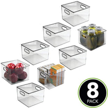 Load image into Gallery viewer, Related mdesign plastic food storage container bin with handles for kitchen pantry cabinet fridge freezer cube organizer for snacks produce vegetables pasta bpa free 8 pack clear