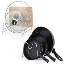 Load image into Gallery viewer, Budget friendly nex 2 pack kitchen cabinet pan and pot lid organizer rack holder