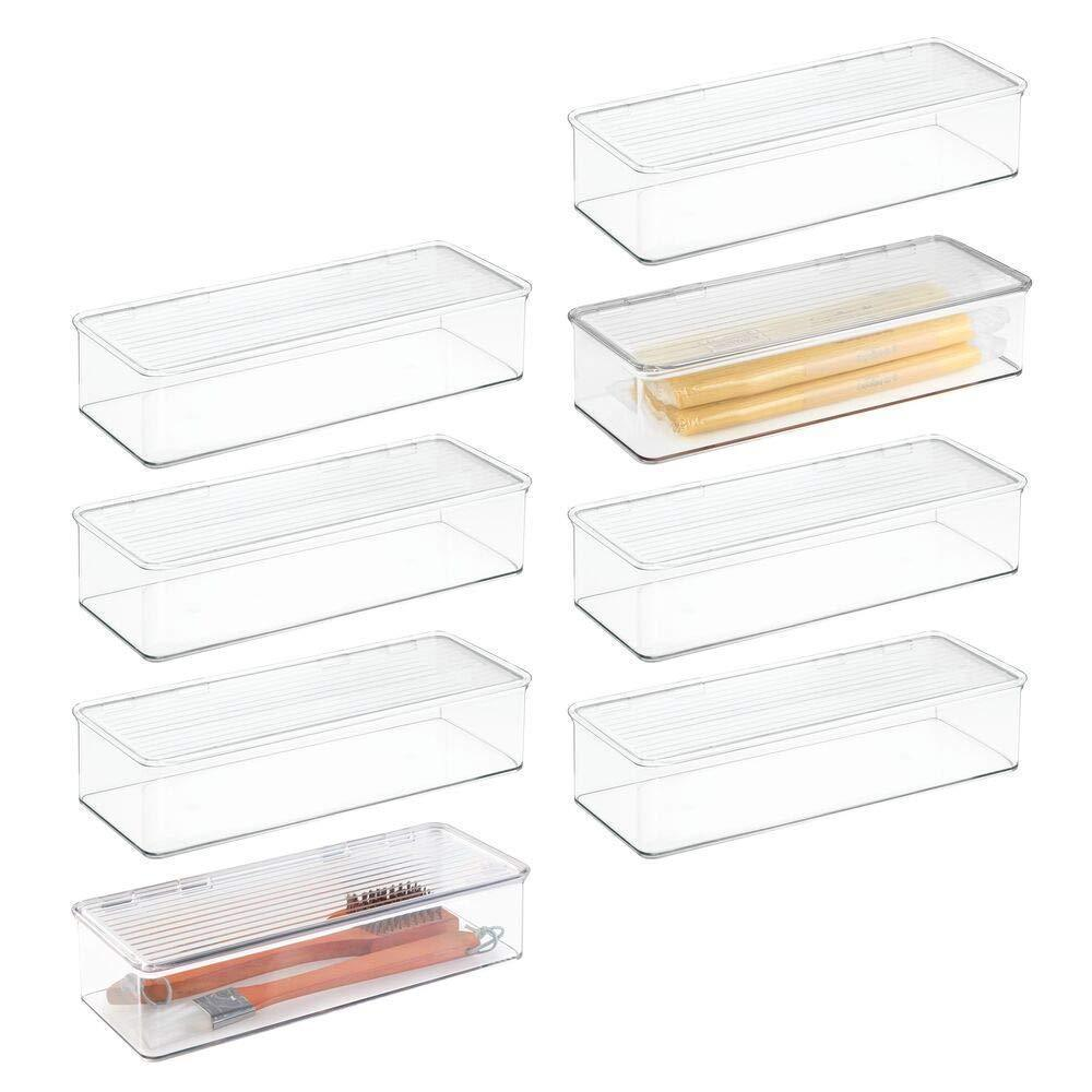 Top mdesign stackable kitchen pantry cabinet refrigerator food storage container bin attached lid organizer for packets snacks produce pasta bpa free food safe 8 pack clear