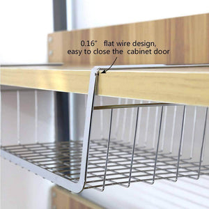 Shop for monpearl 3 pack 16 4 under shelf basket under cabinet wire shelves for cabinet thickness max 1 45 hanging shelf basket on kitchen pantry desk bookshelf silver large size