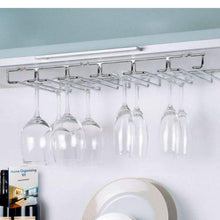 Load image into Gallery viewer, Heavy duty wine glass rack under cabinet hanging stemware rack kitchen organize modern wine glass hanger storage for bar mounting barware durable metal easy to install holder and ebook by nakshop
