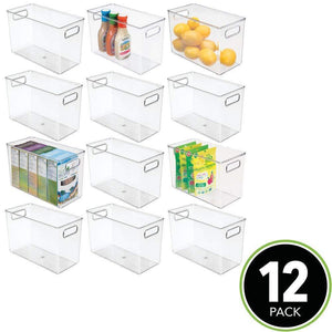 Storage mdesign plastic food storage container bin with handles for kitchen pantry cabinet fridge freezer narrow for snacks produce vegetables pasta bpa free food safe 12 pack clear
