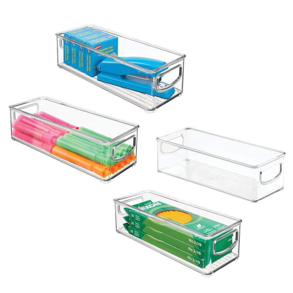 New mdesign stackable plastic office storage organizer container with handles for cabinets drawers desks workspace bpa free for pens pencils highlighters tape 10 long 4 pack clear