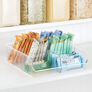 Shop here mdesign plastic wide food storage organizer bin caddy for kitchen pantry cabinet countertop holds baking supplies spices pouches dressing mixes tea sugar packets 6 sections 5 pack clear