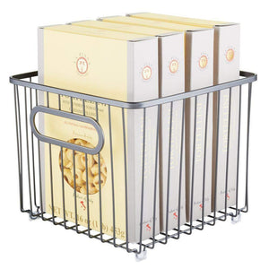 Exclusive mdesign metal farmhouse kitchen pantry food storage organizer basket bin wire grid design for cabinet cupboard shelf countertop holds potatoes onions fruit square 2 pack graphite gray