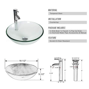 Amazon best 24 bathroom vanity and sink combo stand cabinet mdf board cabinet tempered glass vessel sink round clear sink bowl 1 5 gpm water save chrome faucet solid brass pop up drain w mirror a16b06