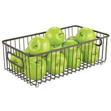 Load image into Gallery viewer, Top rated mdesign metal farmhouse kitchen pantry food storage organizer basket bin wire grid design for cabinets cupboards shelves countertops holds potatoes onions fruit large 4 pack bronze