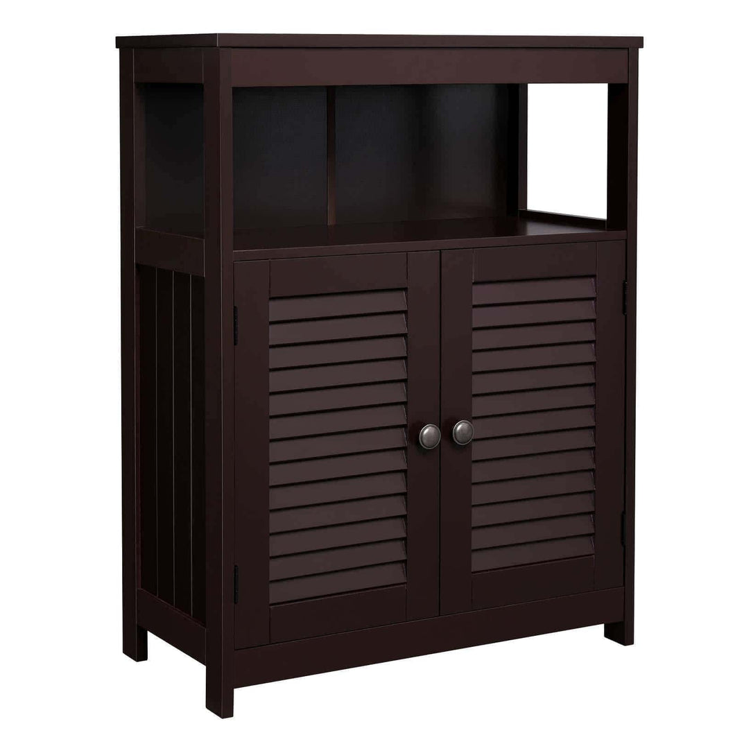 Try vasagle bathroom storage floor cabinet free standing cabinet with double shutter door and adjustable shelf brown ubbc40br