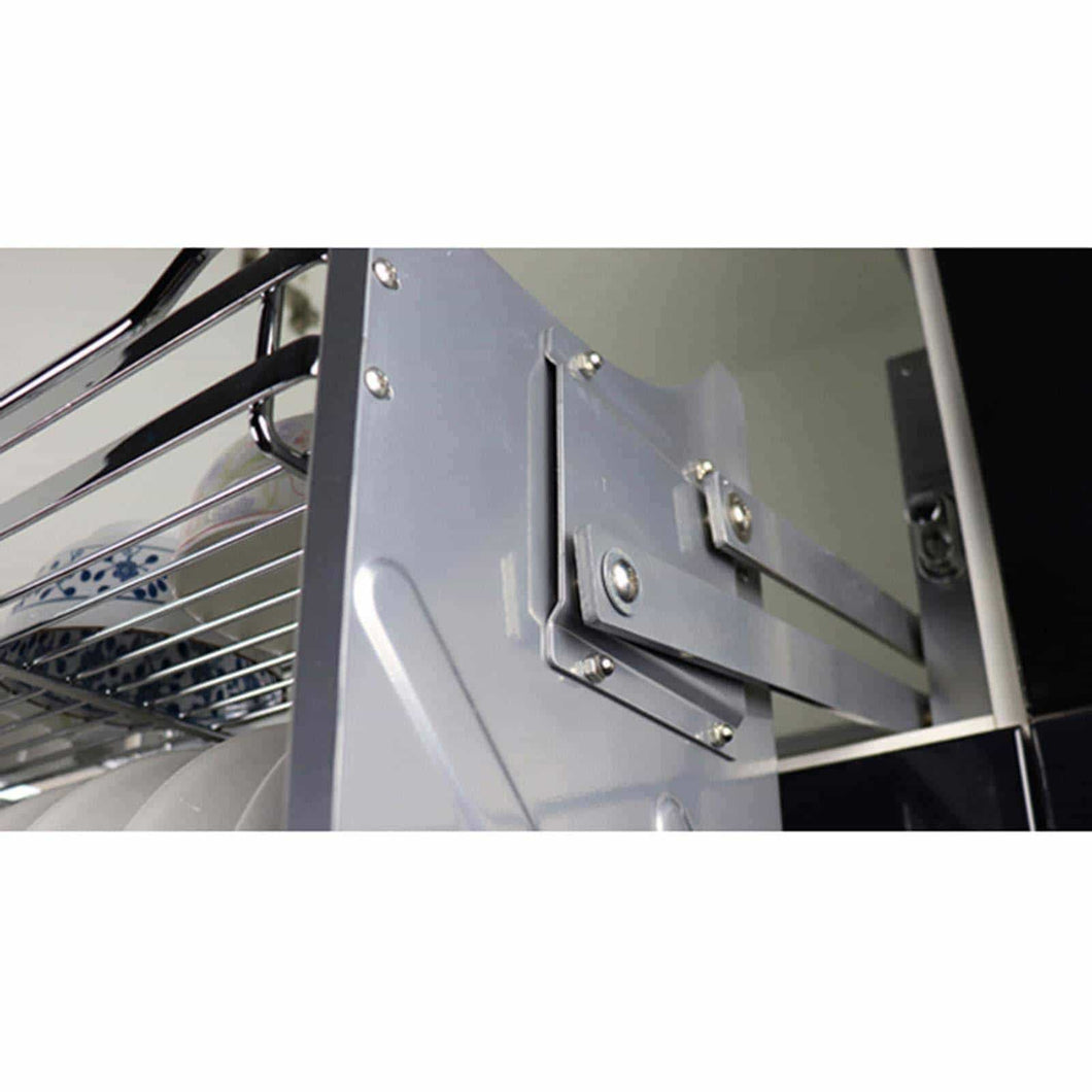 Get pull down 2 tier chrome steel wire dish drainer rack utensils basket shelf plate holder for 800mm width cabinet kitchen