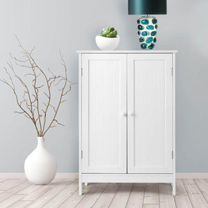 Organize with tangkula bathroom floor cabinet wooden floor storage cabinet living room modern home furniture free standing storage cabinet 23 5x14x34 inches