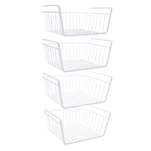 Cheap homeideas 4 pack under shelf basket white wire rack slides under shelves storage basket for kitchen pantry cabinet