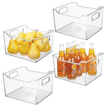Load image into Gallery viewer, Discover the mdesign plastic kitchen pantry cabinet refrigerator or freezer food storage bin with handles organizer for fruit yogurt snacks pasta bpa free 10 long 4 pack clear