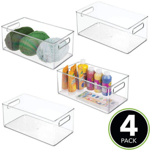 Best mdesign largeplastic storage organizer bin holds crafting sewing art supplies for home classroom studio cabinet or closet great for kids craft rooms 14 5 long 4 pack clear