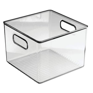 Results mdesign plastic food storage container bin with handles for kitchen pantry cabinet fridge freezer cube organizer for snacks produce vegetables pasta bpa free 8 pack clear