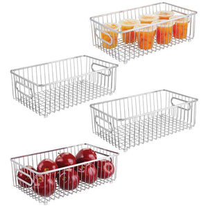 Selection mdesign metal farmhouse kitchen pantry food storage organizer basket bin wire grid design for cabinet cupboard shelf countertop holds potatoes onions fruit large 4 pack chrome
