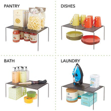Load image into Gallery viewer, Purchase mdesign metal kitchen pantry countertop organizer storage shelves raised cabinet shelf racks for food dishes plates dishes bowls mugs glasses non skid feet extra large 2 pack bronze